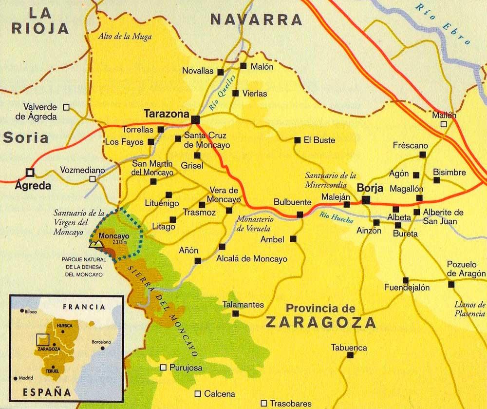 Resultado de imagen de mapa turistico parque moncayo